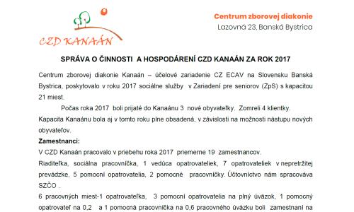 Správa o činnosti CZD Kanaán za rok 2017