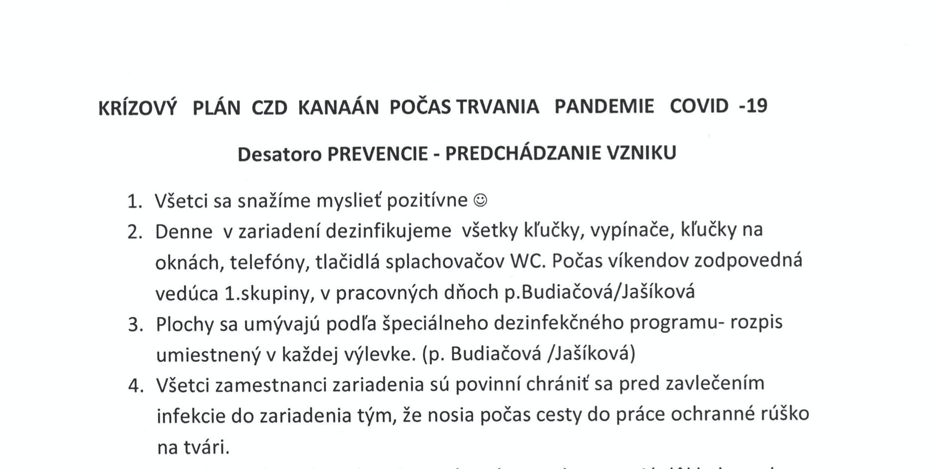 Krízový plán CZD Kanaán počas trvania pandémie COVID-19