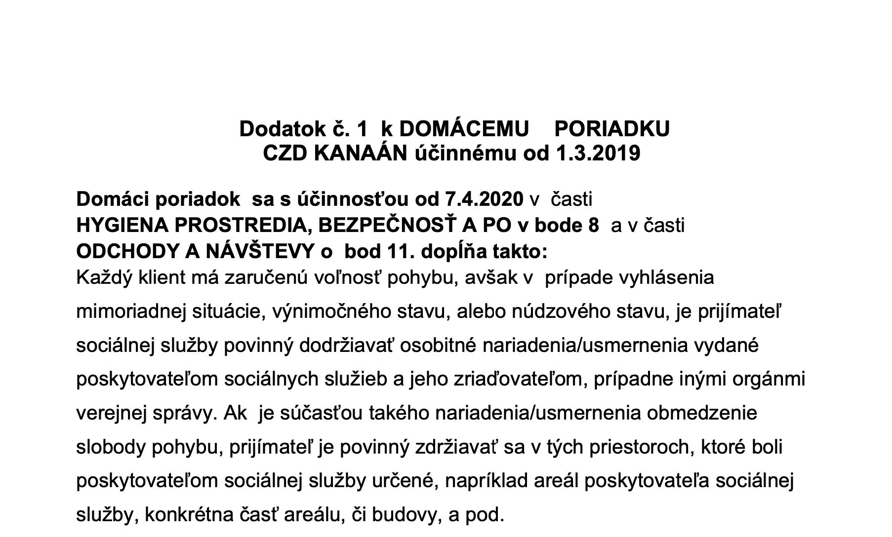 Dodatok č.1 k Domácemu poriadku 2019