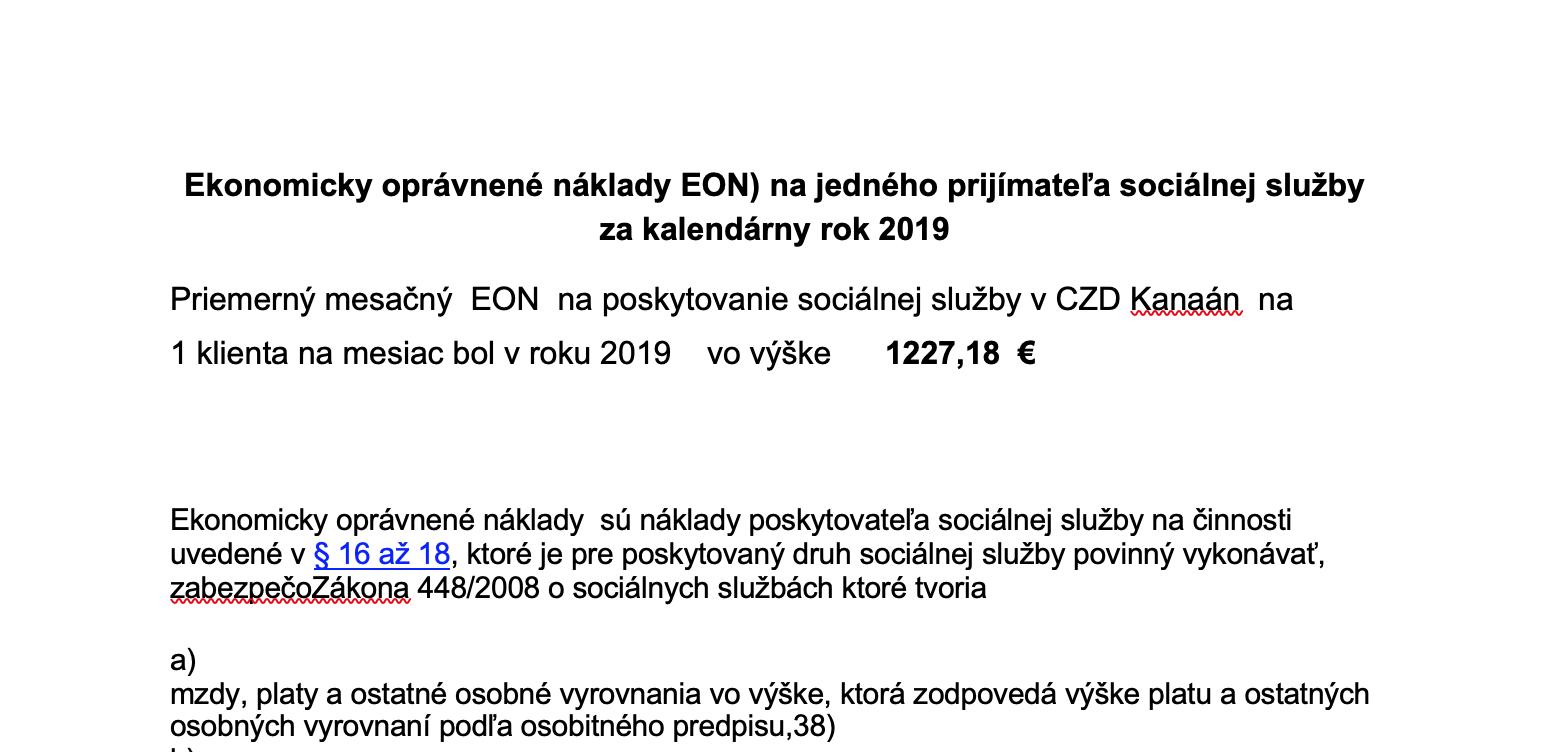 Ekonomicky oprávnené náklady EON za rok 2019