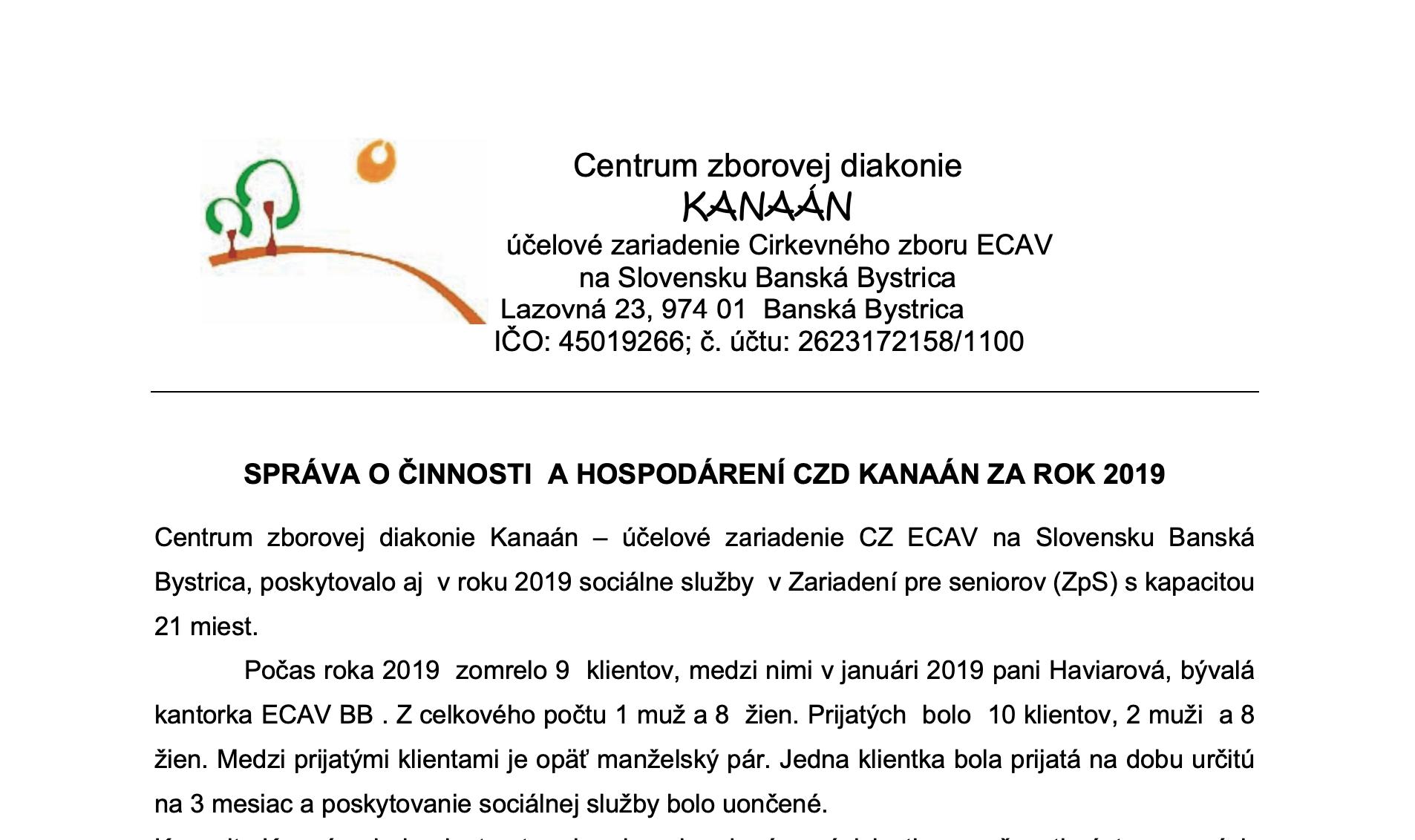 Správa o činnosti CZD Kanaán za rok 2019