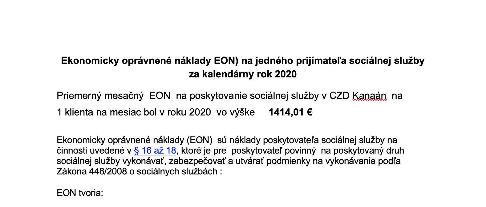 Ekonomicky oprávnené náklady EON za rok 2020