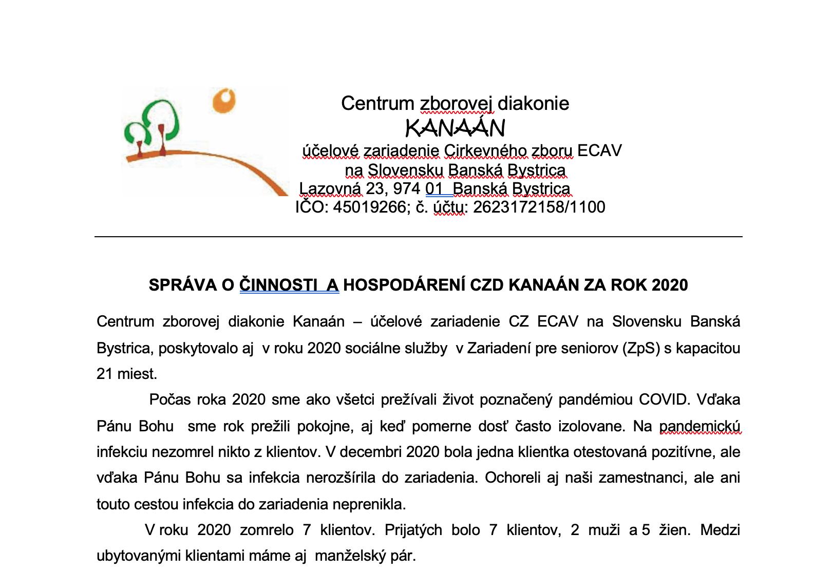Správa o činnosti CZD Kanaán za rok 2020